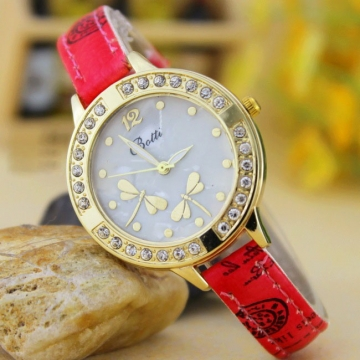 Retro Dragonfly Diamond Striped Watch Ms Fashion Trend Leisure Watch red