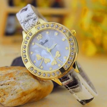 Retro Dragonfly Diamond Striped Watch Ms Fashion Trend Leisure Watch white
