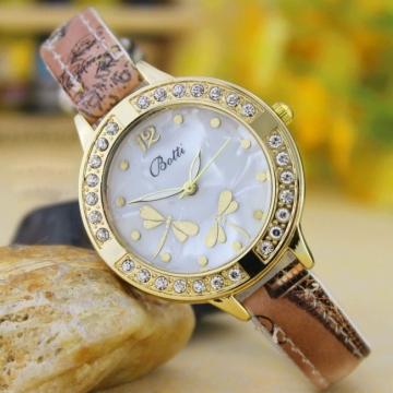 Retro Dragonfly Diamond Striped Watch Ms Fashion Trend Leisure Watch coffee
