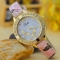 Retro Dragonfly Diamond Striped Watch Ms Fashion Trend Leisure Watch pink