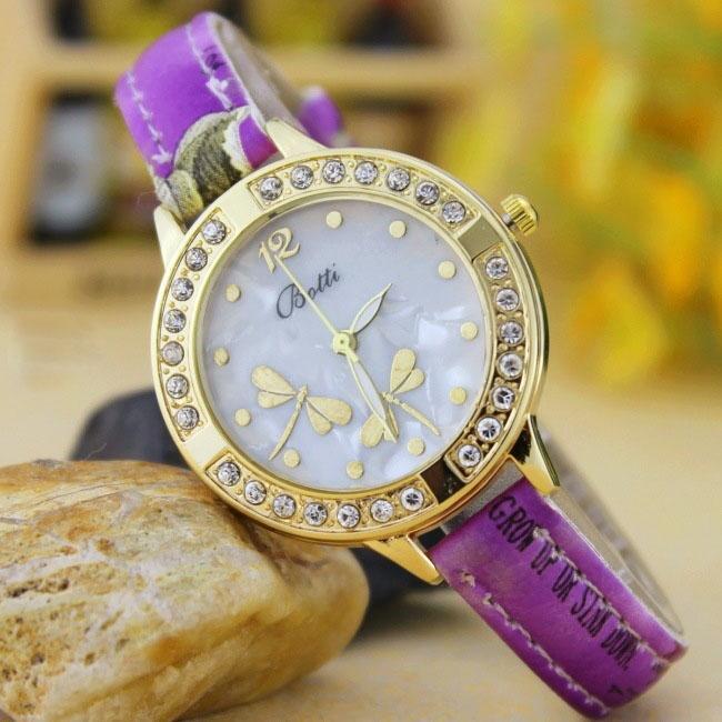 Retro Dragonfly Diamond Striped Watch Ms Fashion Trend Leisure Watch purple