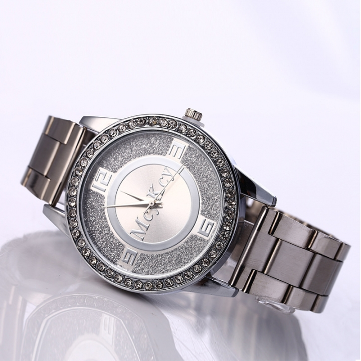 Ms Classic Fashion Steel strip Diamond Watch  The Cross Plate Watch Three Eyes Quartz Watches silver