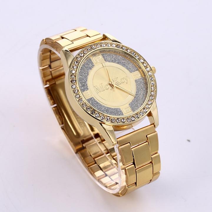 Ms Classic Fashion Steel strip Diamond Watch  The Cross Plate Watch Three Eyes Quartz Watches gold