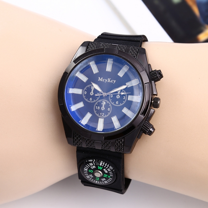 Fashion Straps   Off-road compass Watch  field adventure male Watch blue men