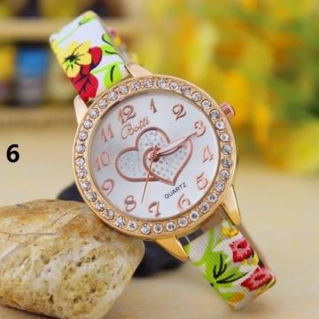 Fashion Student Watch Quartz Female Watch diamond Fashion Double Heart Striped Watch 6