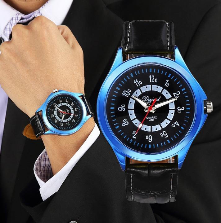 Couple Watch  Business General men and women fashion Belt Watch dark blue