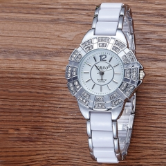 Diamond Ms Watch Upscale Fashion Trend Bracelet Women's Clothing Female Table Diamond ladies Watch Silver white