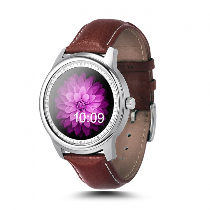 Round Screen Bluetooth Intelligent Watch Stainless Steel Fashion Heart Rate Step Wristband silver one size