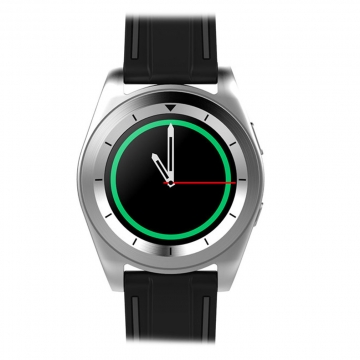 Intelligent Round screen Bluetooth Watch   Android IOS Dual system fashion Ultra thin Exterior silver belt one size