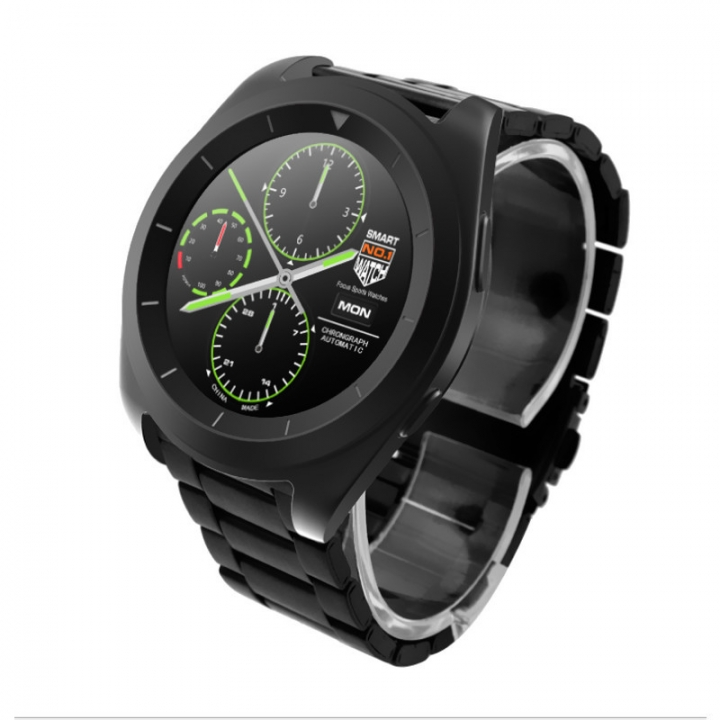 Intelligent Round screen Bluetooth Watch  Android IOS Dual system fashion Ultra thin Exterior Black strip one size