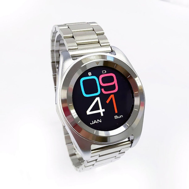 Intelligent Round screen Bluetooth Watch  Android IOS Dual system fashion Ultra thin Exterior silver strip one size