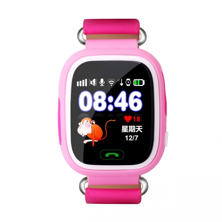 Intelligent child phone Watch Color screen Touch screen GPS Positioning WIFI child wristband pink one size
