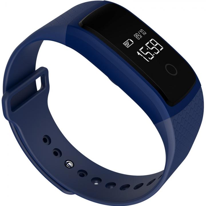 Intelligent Dynamic Heart Rate Blood Oxygen Blood Pressure Monitoring Waterproof Wristband blue one size