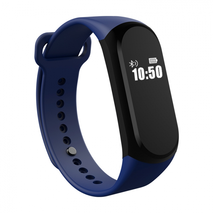 Bluetooth Intelligent Waterproof Wristband Stand By Heart Rate Step Movement blue one size