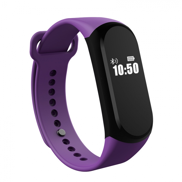 Bluetooth Intelligent Waterproof Wristband Stand By Heart Rate Step Movement purple one size