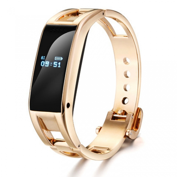 Bluetooth Intelligent Wristband Movement Step Sleep Monitoring Metal Texture Wristband gold one size
