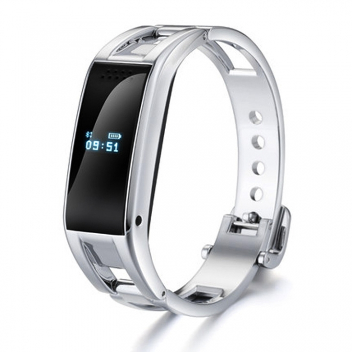 Bluetooth Intelligent Wristband Movement Step Sleep Monitoring Metal Texture Wristband silver one size