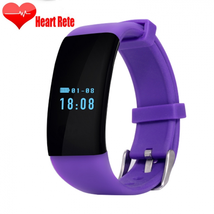 Heart rate Monitor Movement Wristband Touch SCcreen Movement Step Bluetooth Intelligent Wristband... purple one size