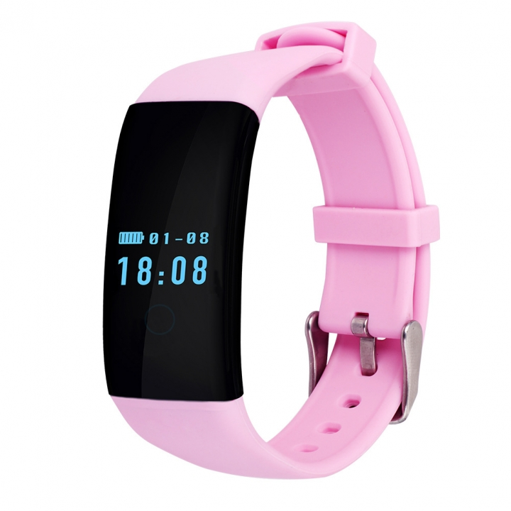 Heart rate Monitor Movement Wristband Touch SCcreen Movement Step Bluetooth Intelligent Wristband... pink one size