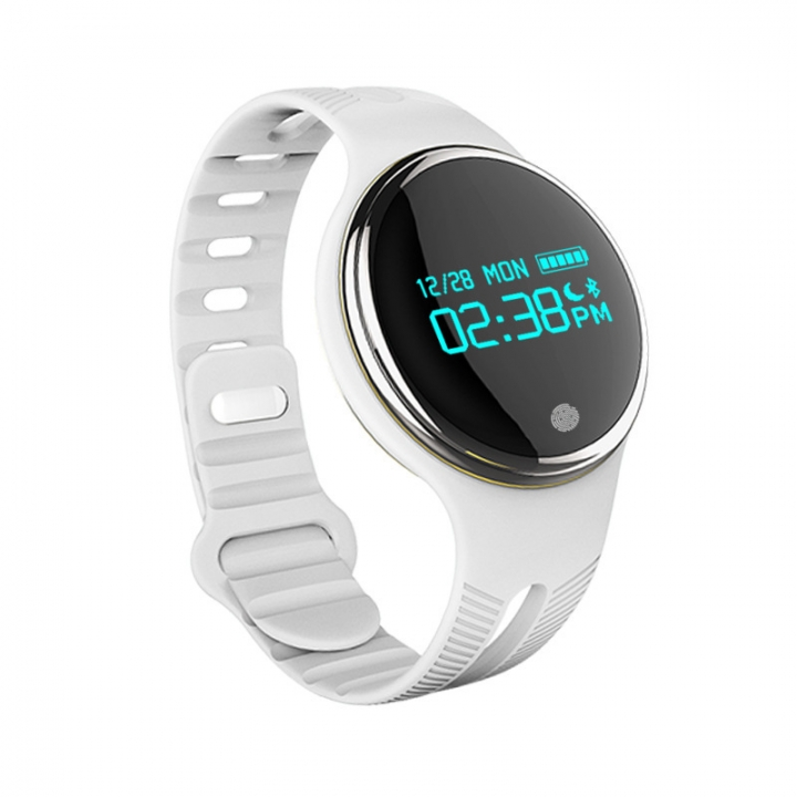 Bluetooth Intelligent Wristband Movement Pedometer Heart Rate Monitor Touch Screen white one size