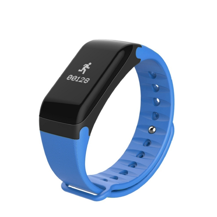 Intelligent Bluetooth Heart rate blood pressure movement Step waterproof wristband blue one size