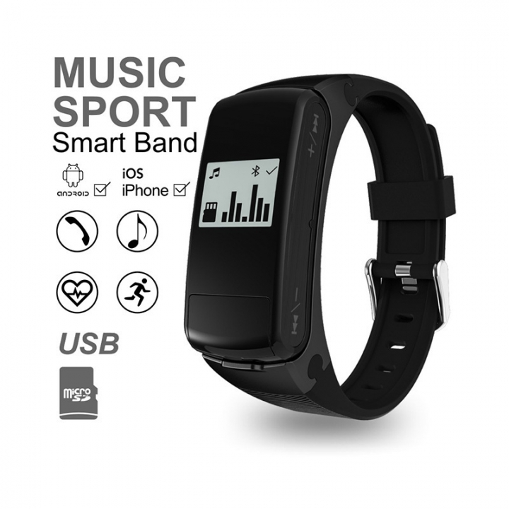 Music Bluetooth Wristband  Movement Step Stand by TF Card Heart Rate Monitoring Handsfree black one size