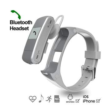 Music Bluetooth Wristband  Movement Step Stand by TF Card Heart Rate Monitoring Handsfree silver one size