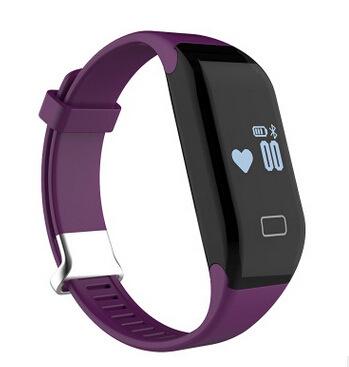 Intelligent Bluetooth Wristband Heart Rate Waterproof Movement Pedometer Sleep Monitoring purple one size