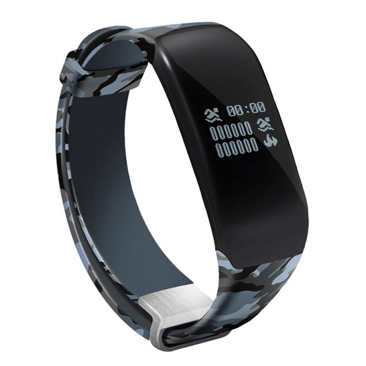 Swim Movement Intelligent Wristband  Heart Rate Monitoring Step Waterproof Camouflage Straps blue one size