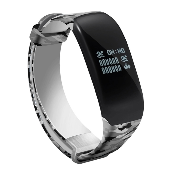 Swim Movement Intelligent Wristband  Heart Rate Monitoring Step Waterproof Camouflage Straps silver one size