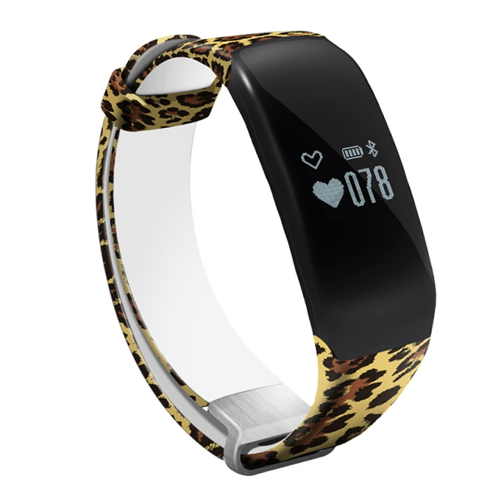 Swim Movement Intelligent Wristband  Heart Rate Monitoring Step Waterproof Camouflage Straps Leopard one size