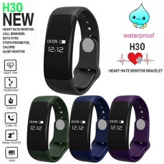 Intelligent Heart Rate Sleep Health Monitor Movement Step Touch Screen Wristband black one size