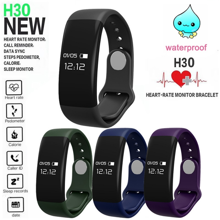 Intelligent Heart Rate Sleep Health Monitor Movement Step Touch Screen Wristband blue one size