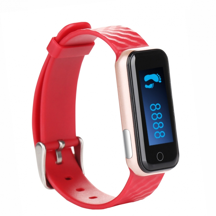 Intelligent Wristband Bluetooth Wear Watch Movement Step Heart Rate Monitor Waterproof red one size