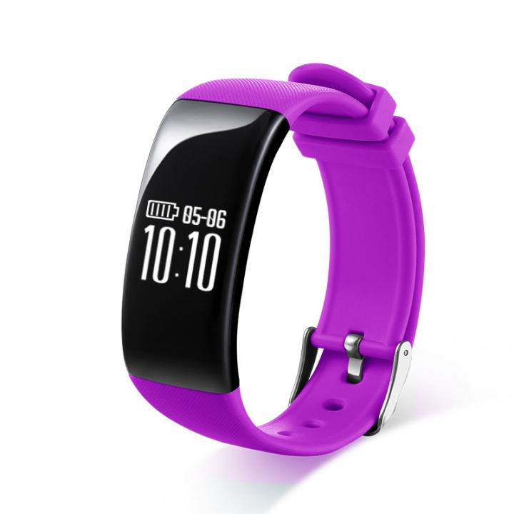 Intelligent Heart Rate Sleep Monitor Call Remind Bluetooth Movement Wristband purple one size