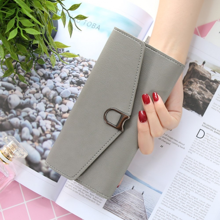 The New Ms Wallet Simple Fashion Multi-card Bit Female Models Coin Purse gray one size