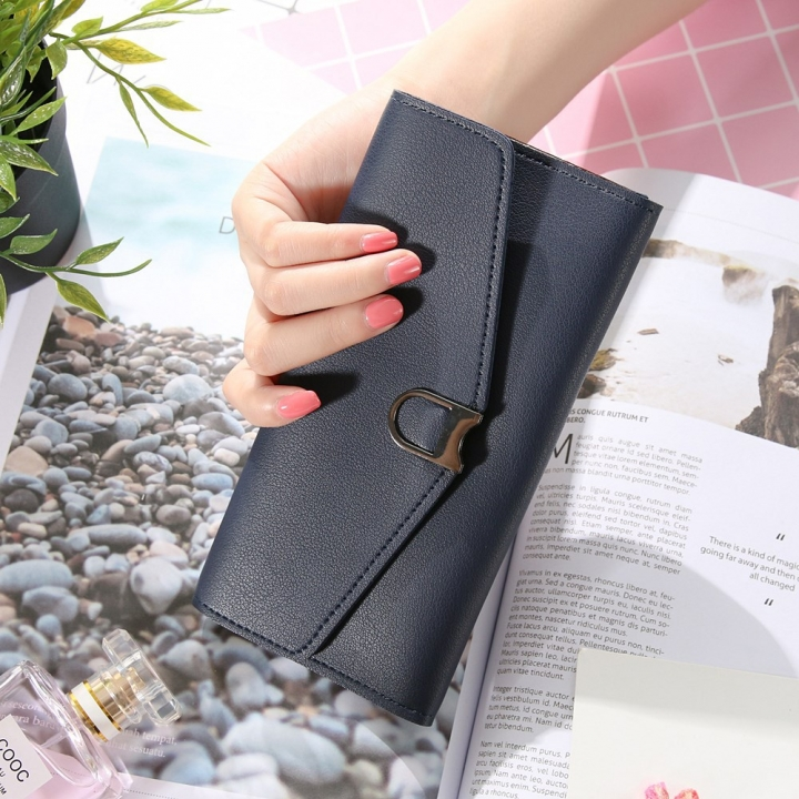 The New Ms Wallet Simple Fashion Multi-card Bit Female Models Coin Purse dark blue one size