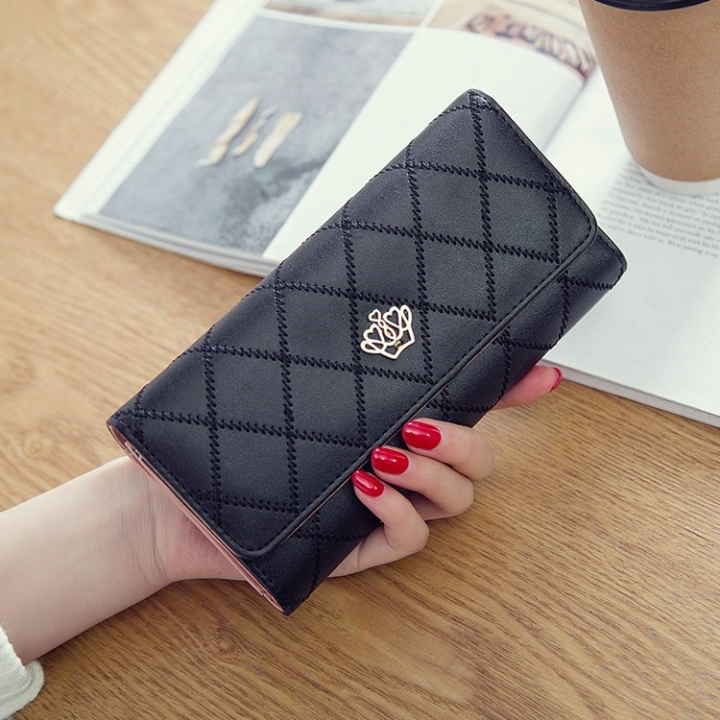 Female Long Section Buckle Lingge Love Crown Wallet Big Notes Female Models Wallet black one size