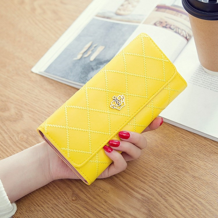 Female Long Section Buckle Lingge Love Crown Wallet Big Notes Female Models Wallet yellow one size