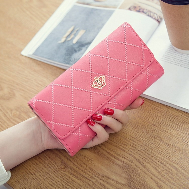 Female Long Section Buckle Lingge Love Crown Wallet Big Notes Female Models Wallet watermelon red one size