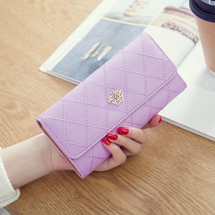 Female Long Section Buckle Lingge Love Crown Wallet Big Notes Female Models Wallet ligth purple one size