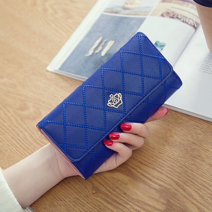 Female Long Section Buckle Lingge Love Crown Wallet Big Notes Female Models Wallet blue one size
