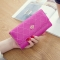 Female Long Section Buckle Lingge Love Crown Wallet Big Notes Female Models Wallet rose red one size