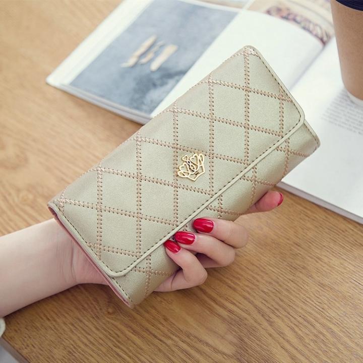 Female Long Section Buckle Lingge Love Crown Wallet Big Notes Female Models Wallet Golden one size