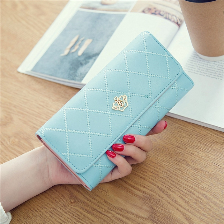 Female Long Section Buckle Lingge Love Crown Wallet Big Notes Female Models Wallet Pink blue one size