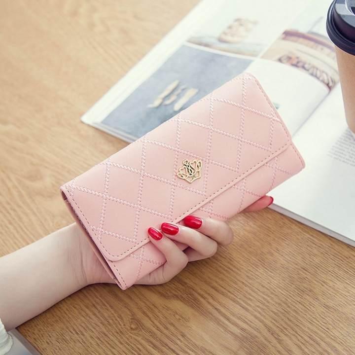 Female Long Section Buckle Lingge Love Crown Wallet Big Notes Female Models Wallet Cherry powder one size