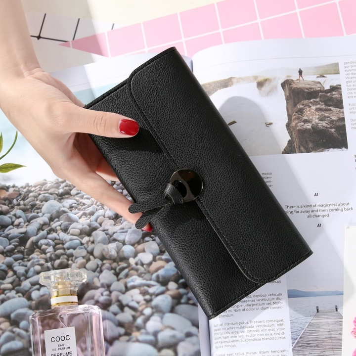 Handbag Multicolor Ms Wallet In the long Section Solid Color Knot Fold Sallet The New Lady bags black one size
