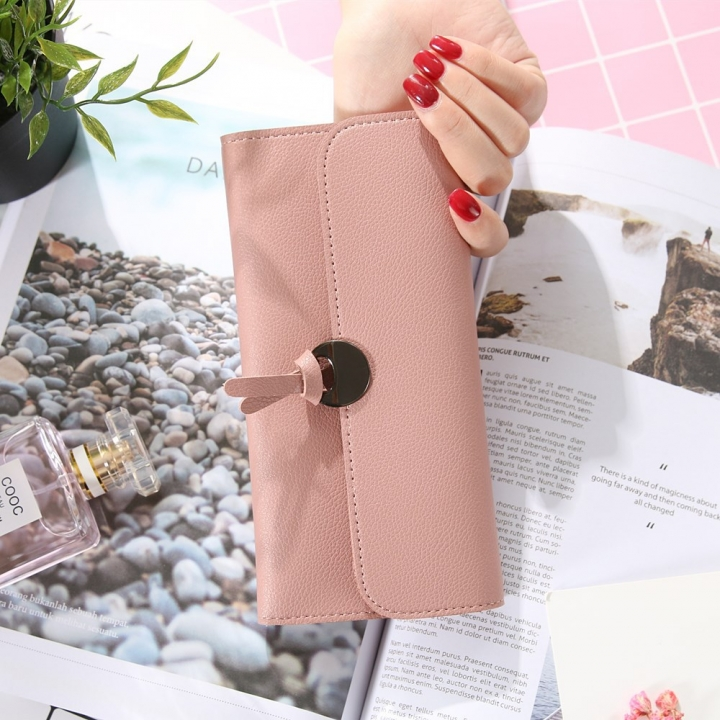 Handbag Multicolor Ms Wallet In the long Section Solid Color Knot Fold Sallet The New Lady bags ligth pink one size