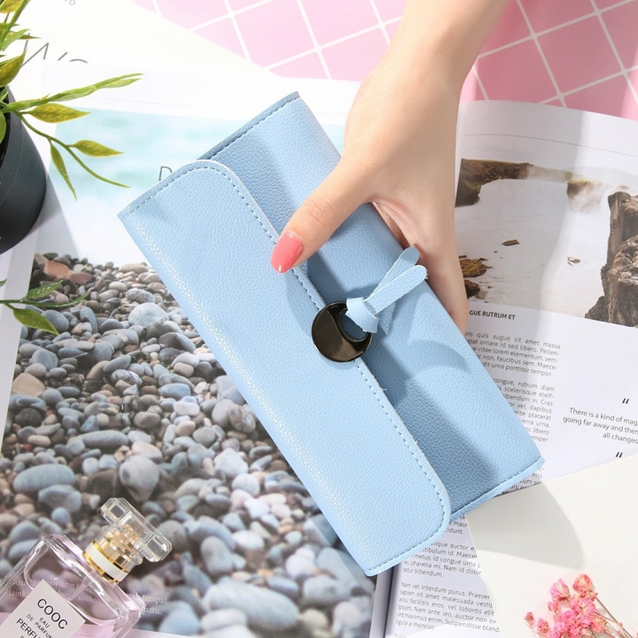 Handbag Multicolor Ms Wallet In the long Section Solid Color Knot Fold Sallet The New Lady bags Water blue one size