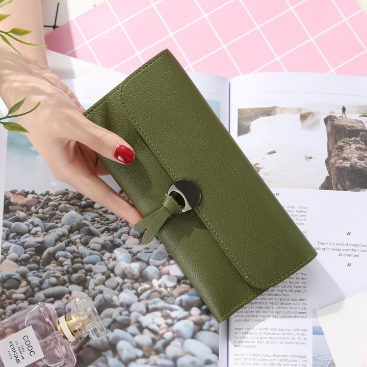 Handbag Multicolor Ms Wallet In the long Section Solid Color Knot Fold Sallet The New Lady bags Dark green one size